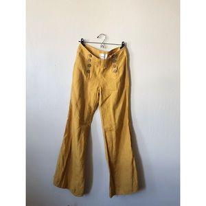 ANTHROPOLOGIE mustard yellow wide leg linen pants
